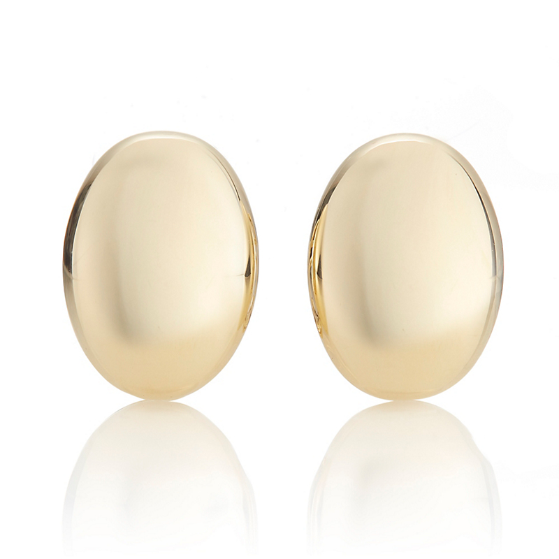Oval Shield Gold Earrings