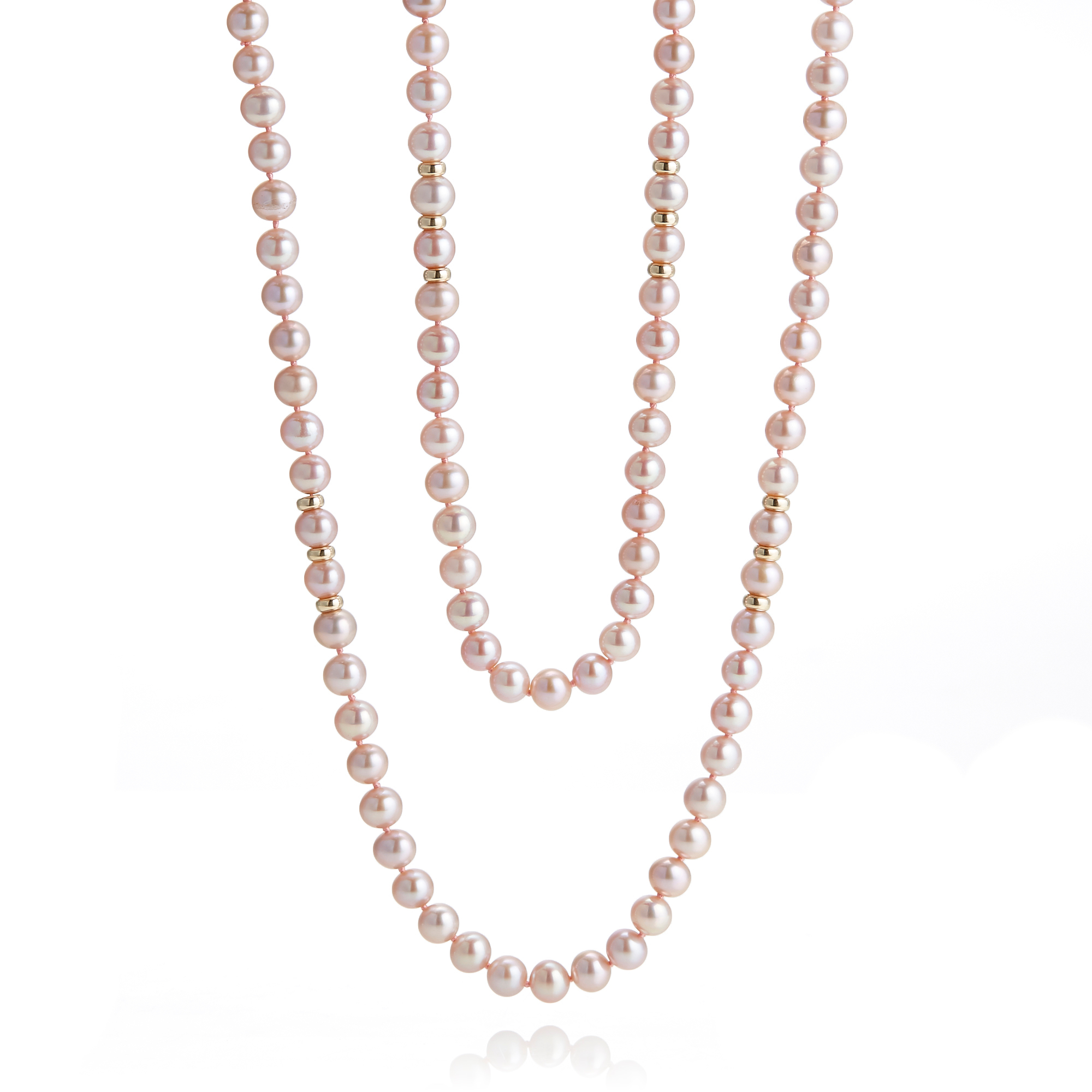 Gump's Pink Pearl & Gold Rope Necklace