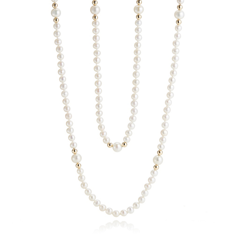 Gump's White Freshwater Pearl Station Rope Necklace