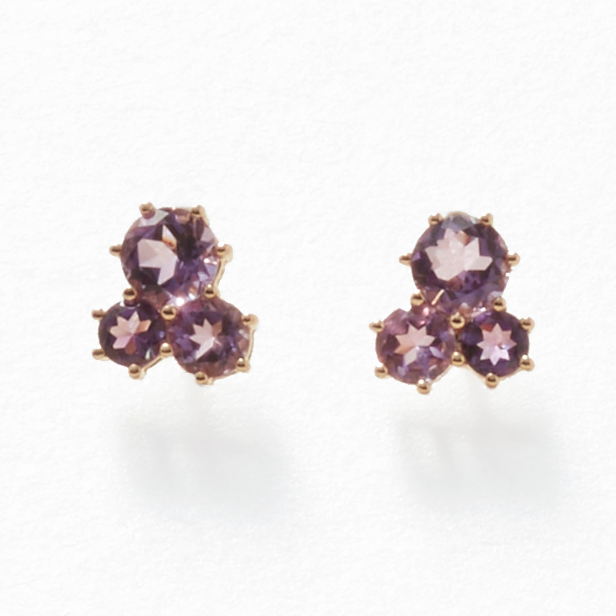 Gump's Amethyst Trio Cluster Stud Earrings
