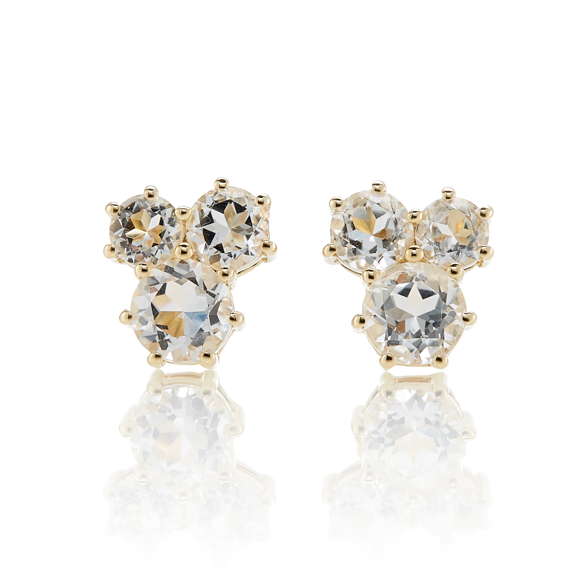 Gump's White Quartz Trio Cluster Earrings