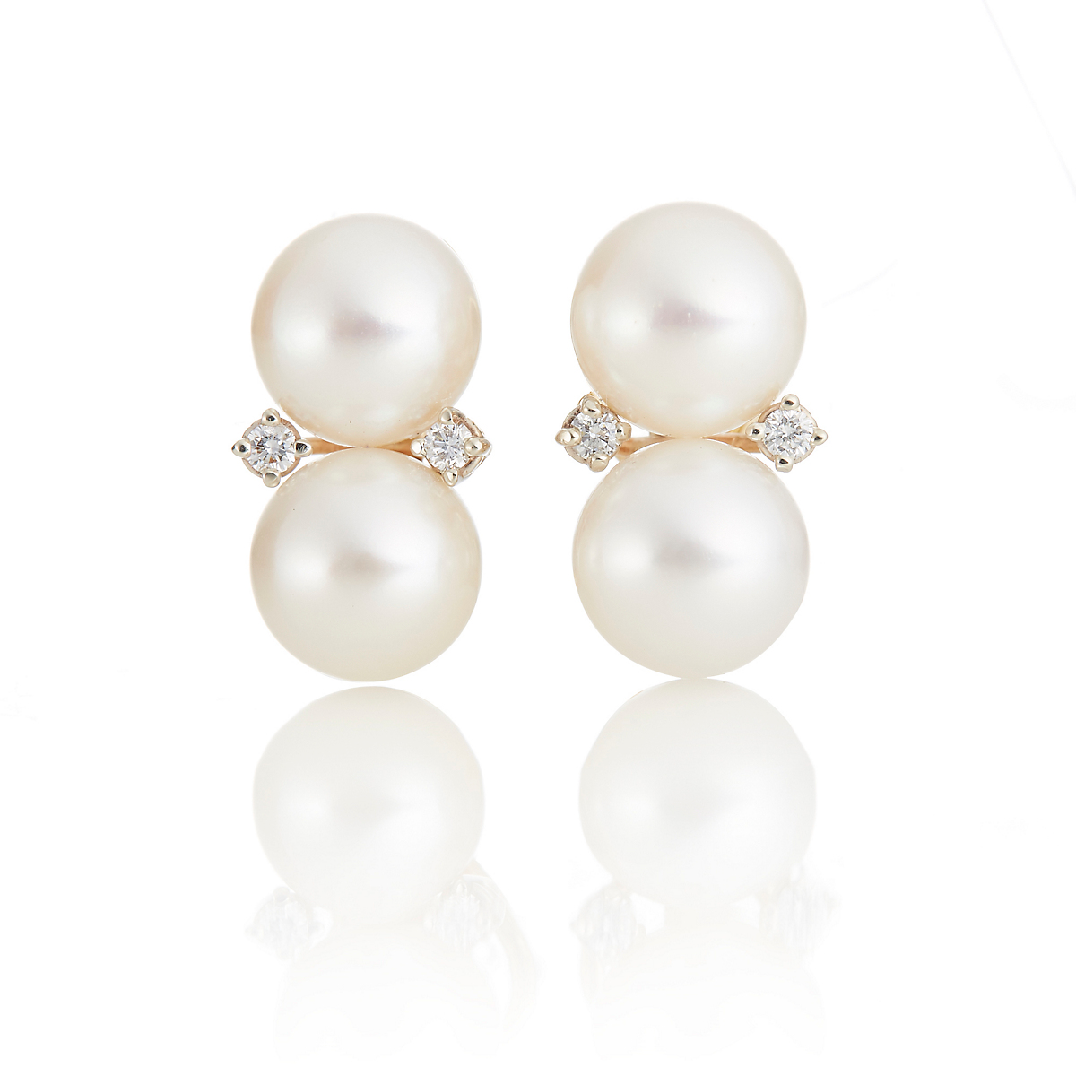 Gump's White Pearl & Diamond Stacked Earrings