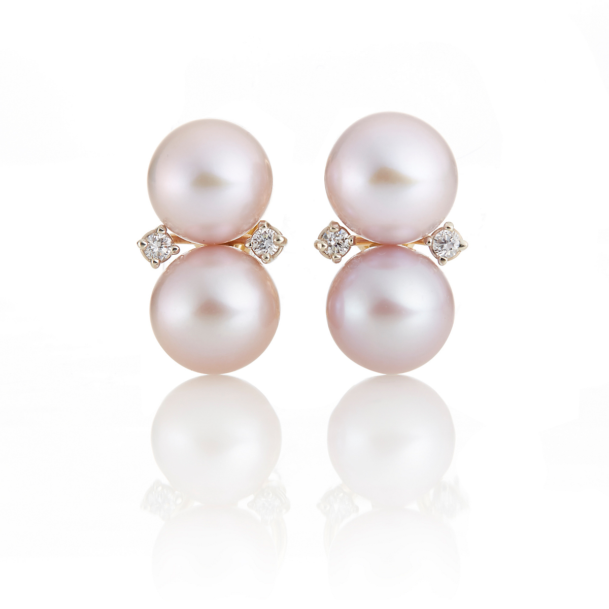 Gump's Pink Pearl & Diamond Stacked Earrings