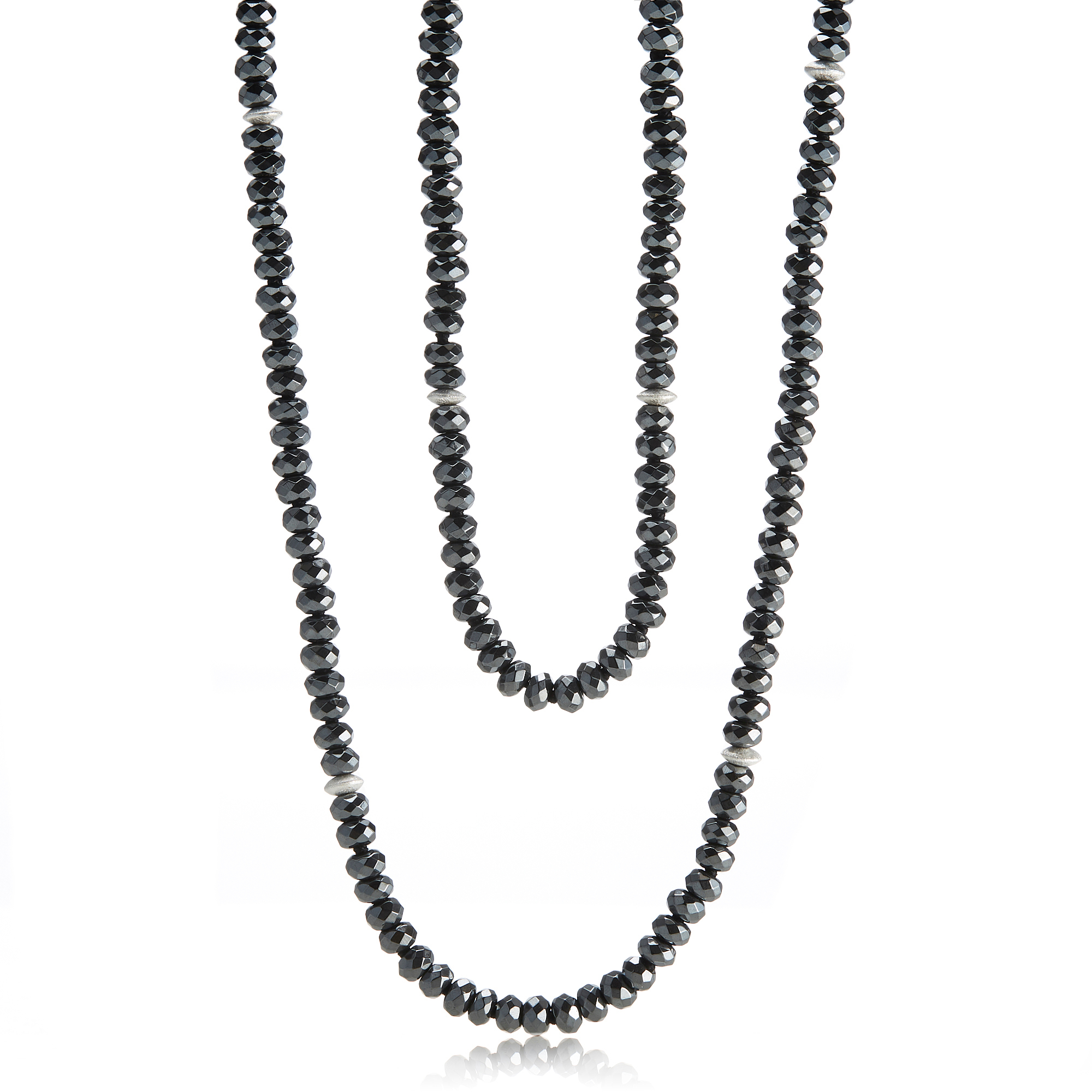 Gump's Hematite With Silver Disc Rope
