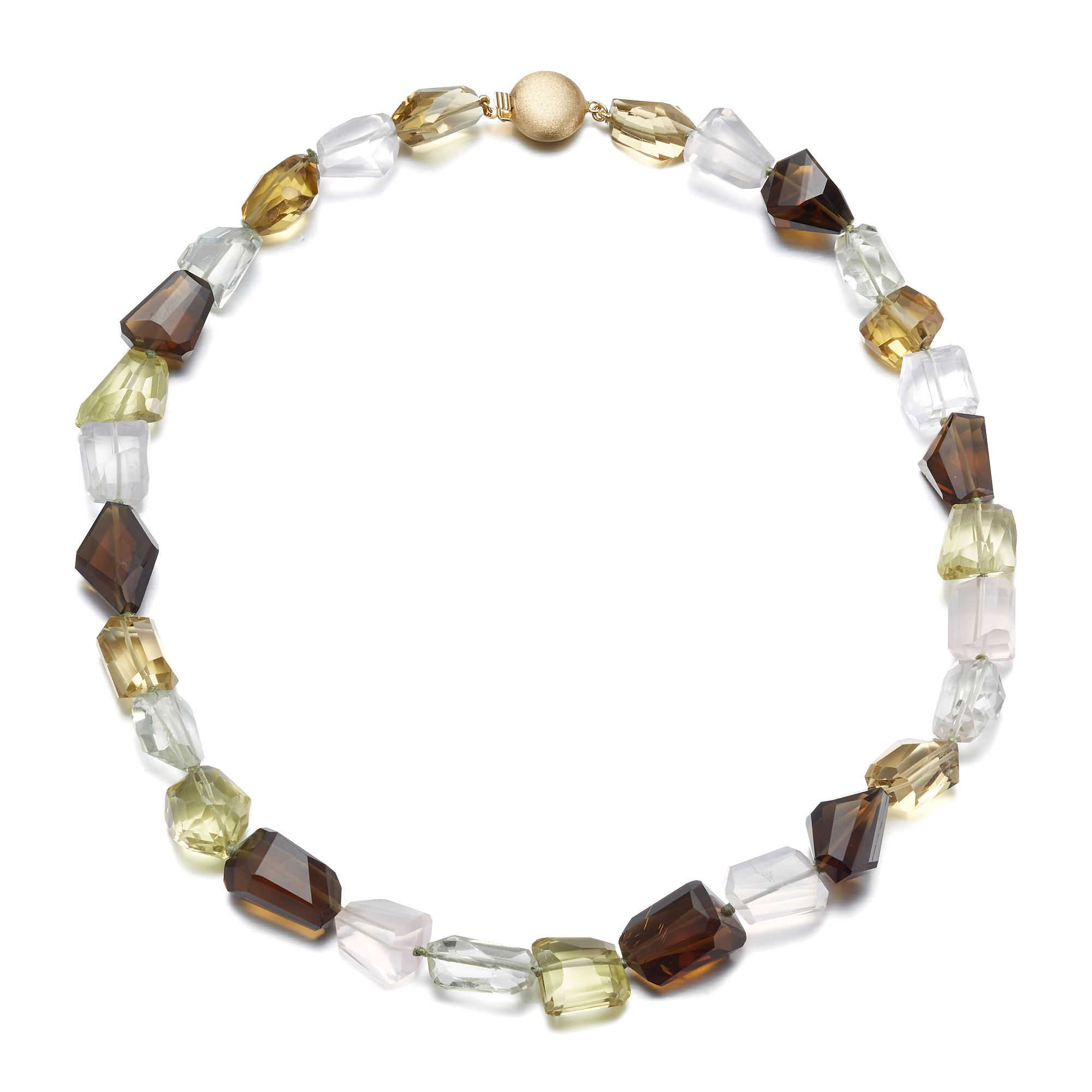 Gump's  Multicolor Faceted Quartz Pebble Necklace