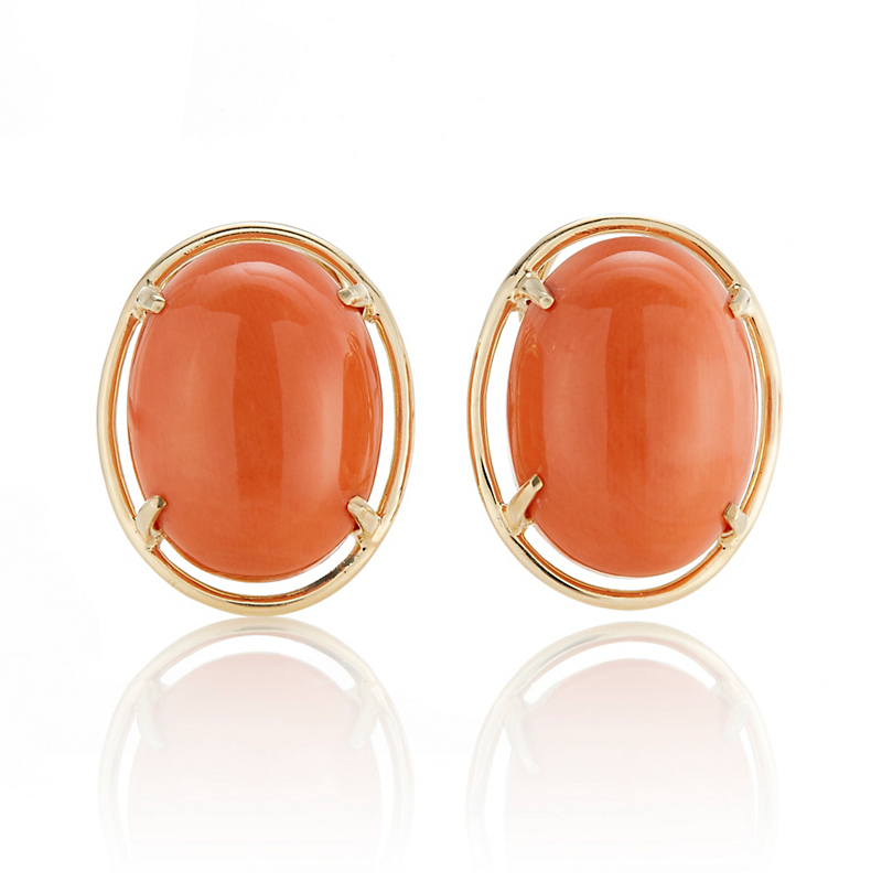 Gump's Gold & Salmon Coral Cabochon Earrings