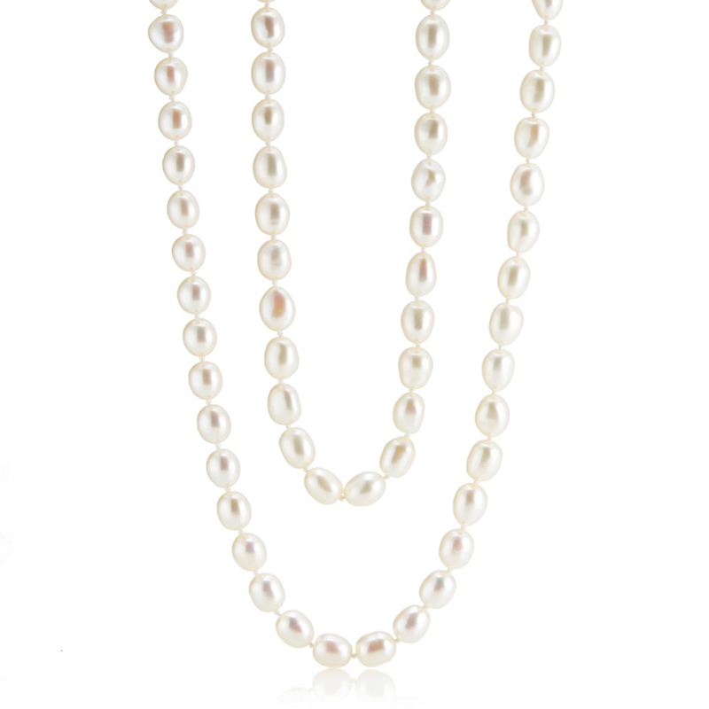 Gump's Freshwater Oval Pearl Necklace With Fluted Clasp