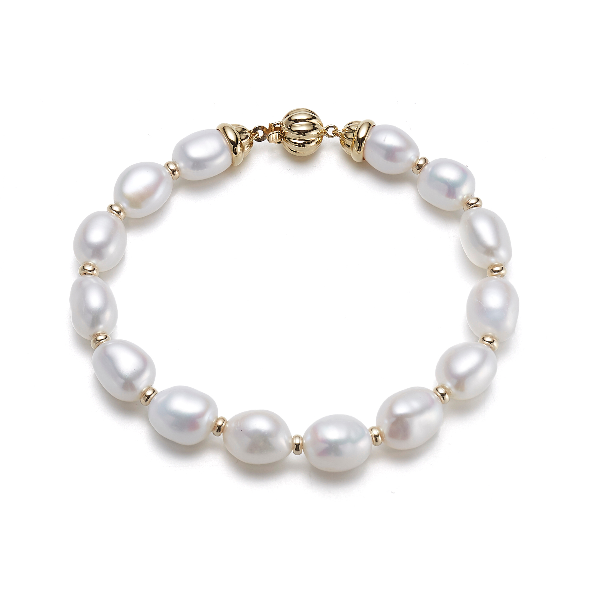 Gump's Freshwater Oval Pearl Bracelet With Fluted Clasp