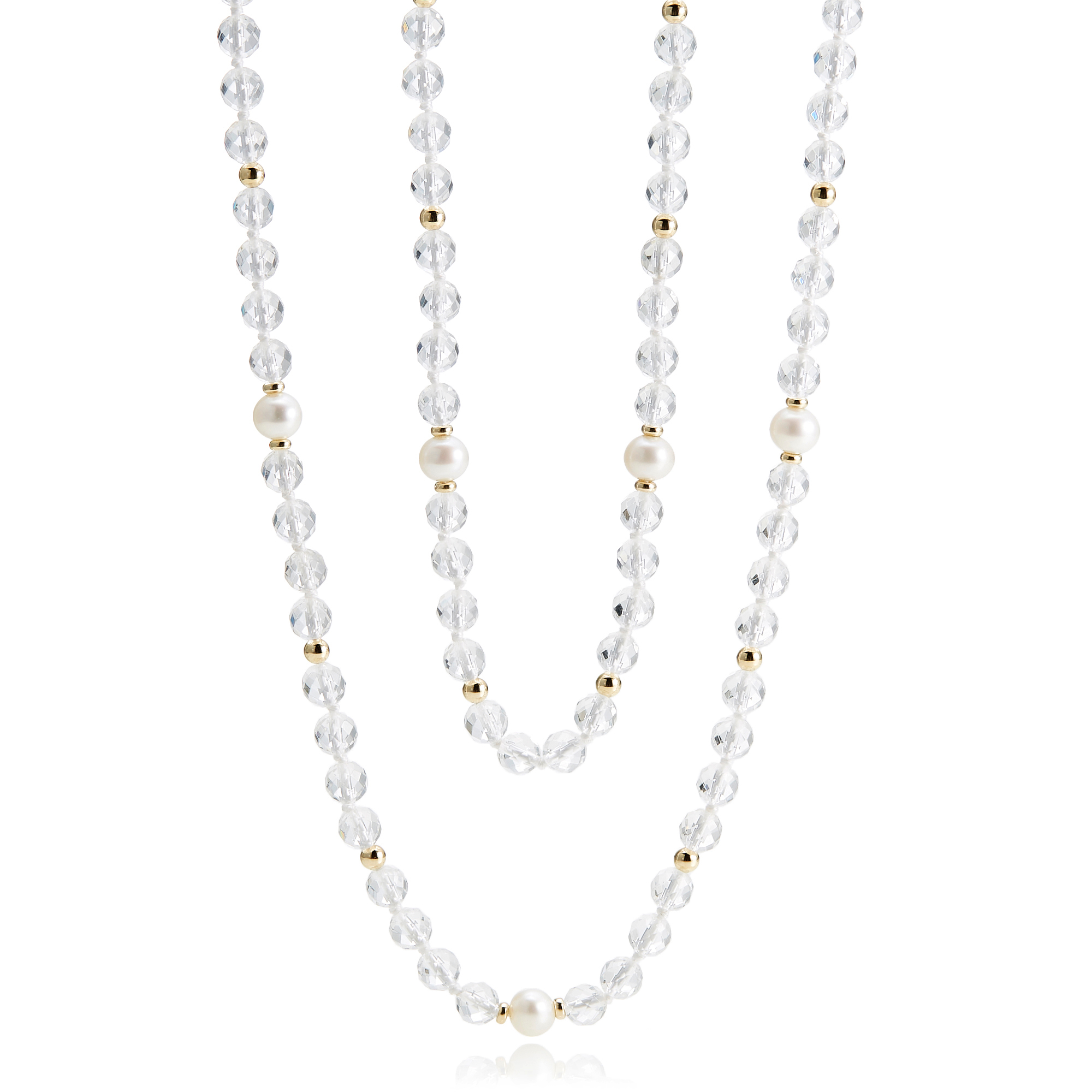 Gump's Faceted Crystal & Pearl Station Rope Necklace