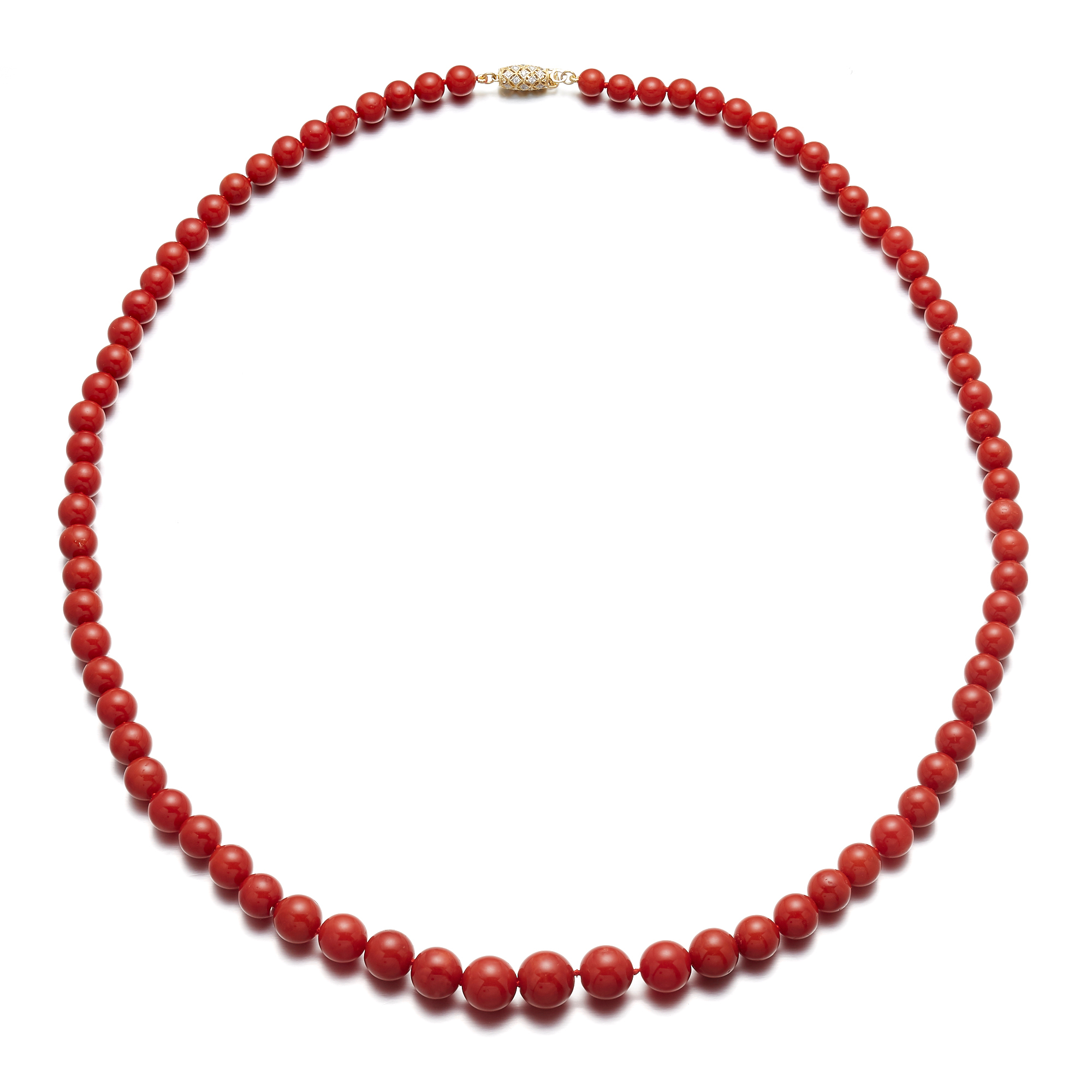 Gump's Graduated Red Coral Necklace