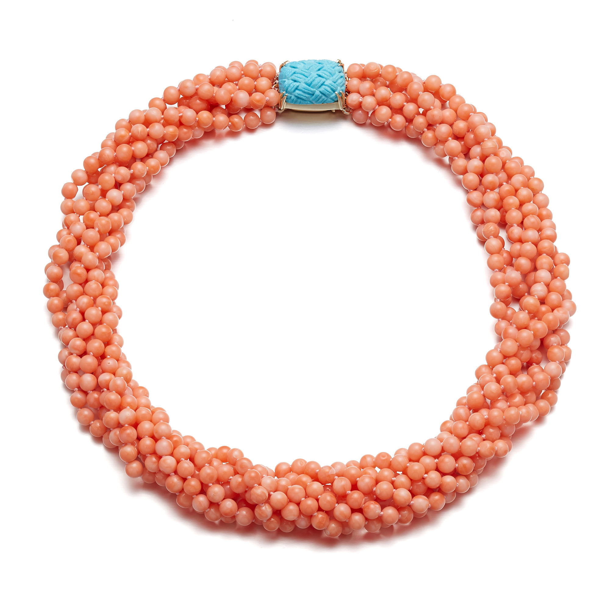 Gump's Turquosie & Pink Coral Twist Necklace