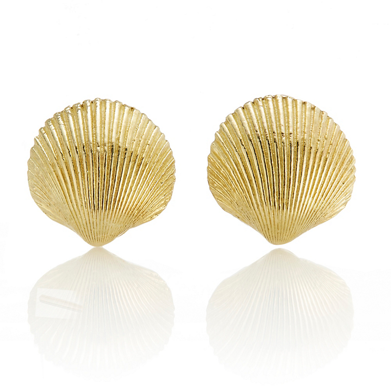 Round Textured Seashell Earrings