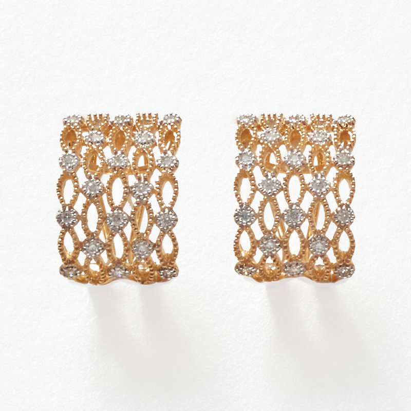 Diamond Openwork Marquise Cuff Earrings