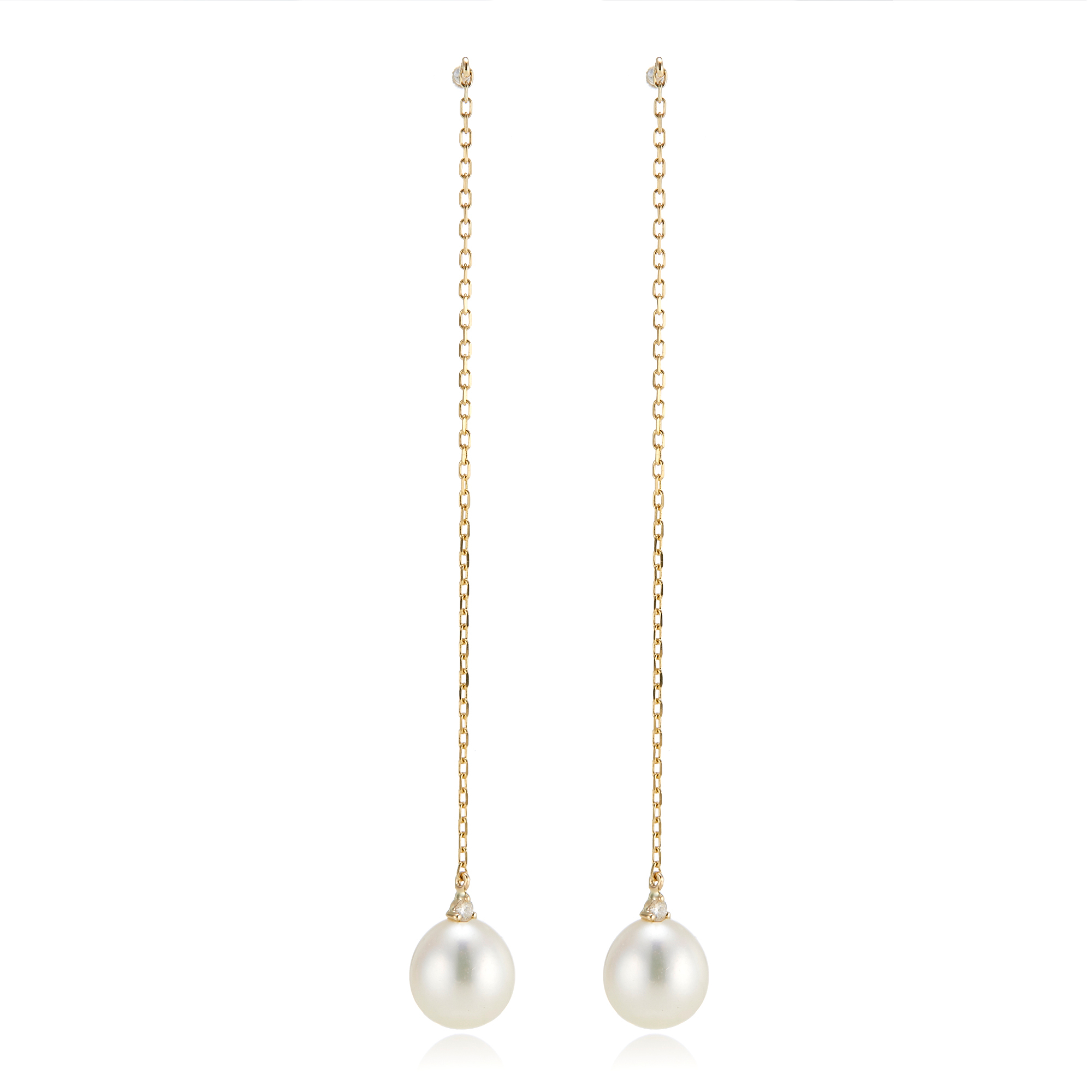 Freshwater Pearl and Diamond Threader Earrings