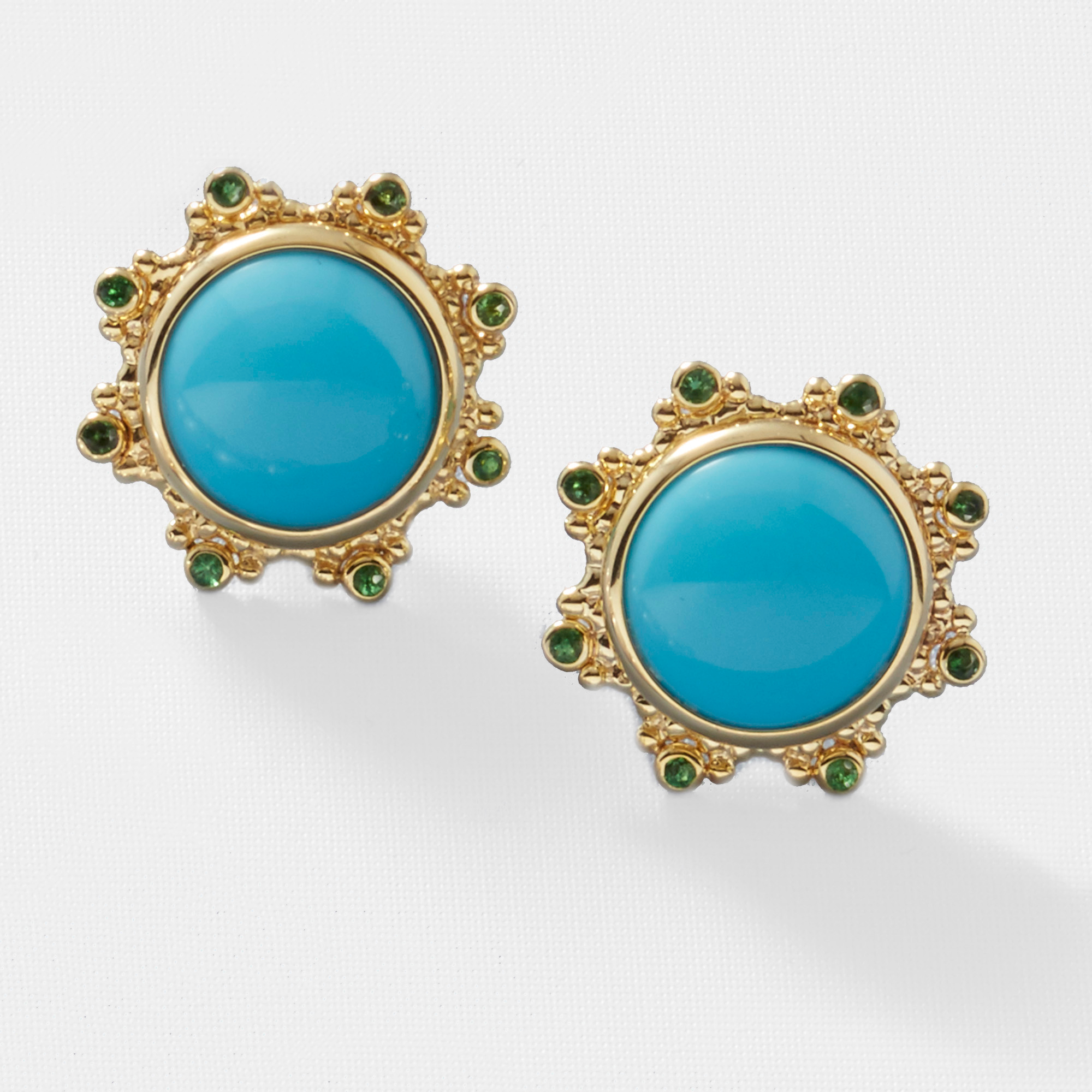 Turquoise & Tsavorite Sunburst Earrings