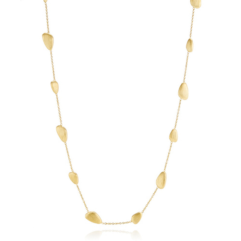 Brushed Organic Pebble Gold Station Necklace
