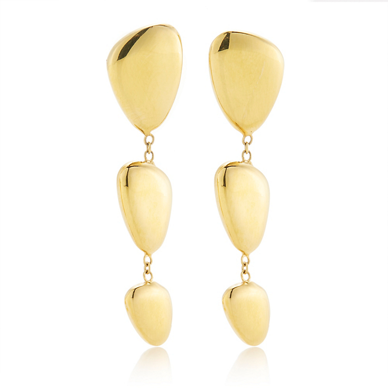 Polished Organic Pebble Triple Drop Earrings