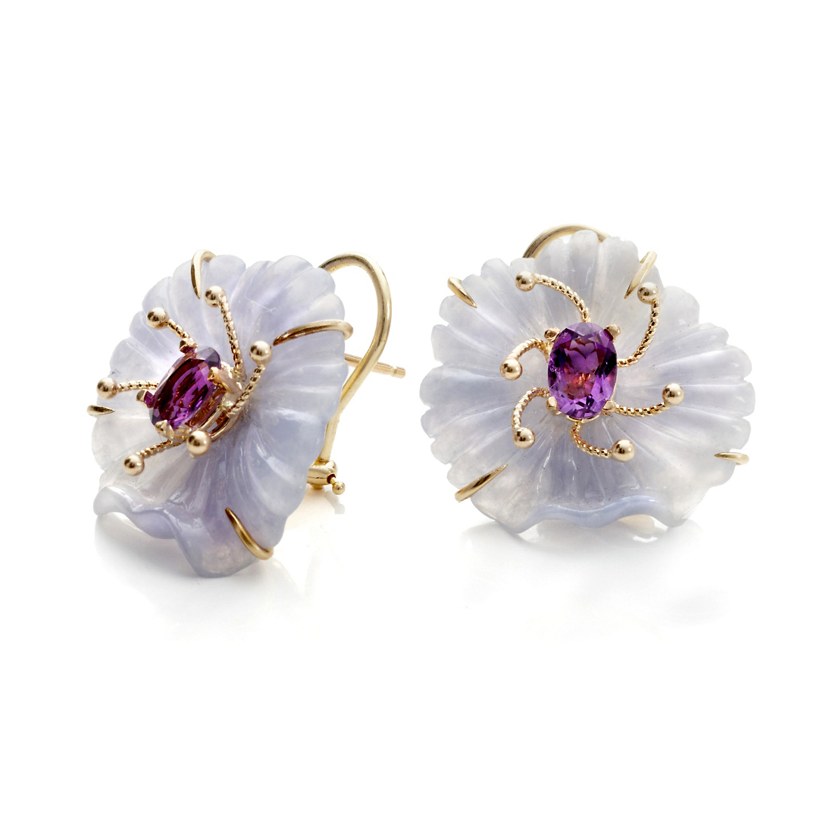 Russell Trusso Lavender Jade & Amethyst Flower Earrings
