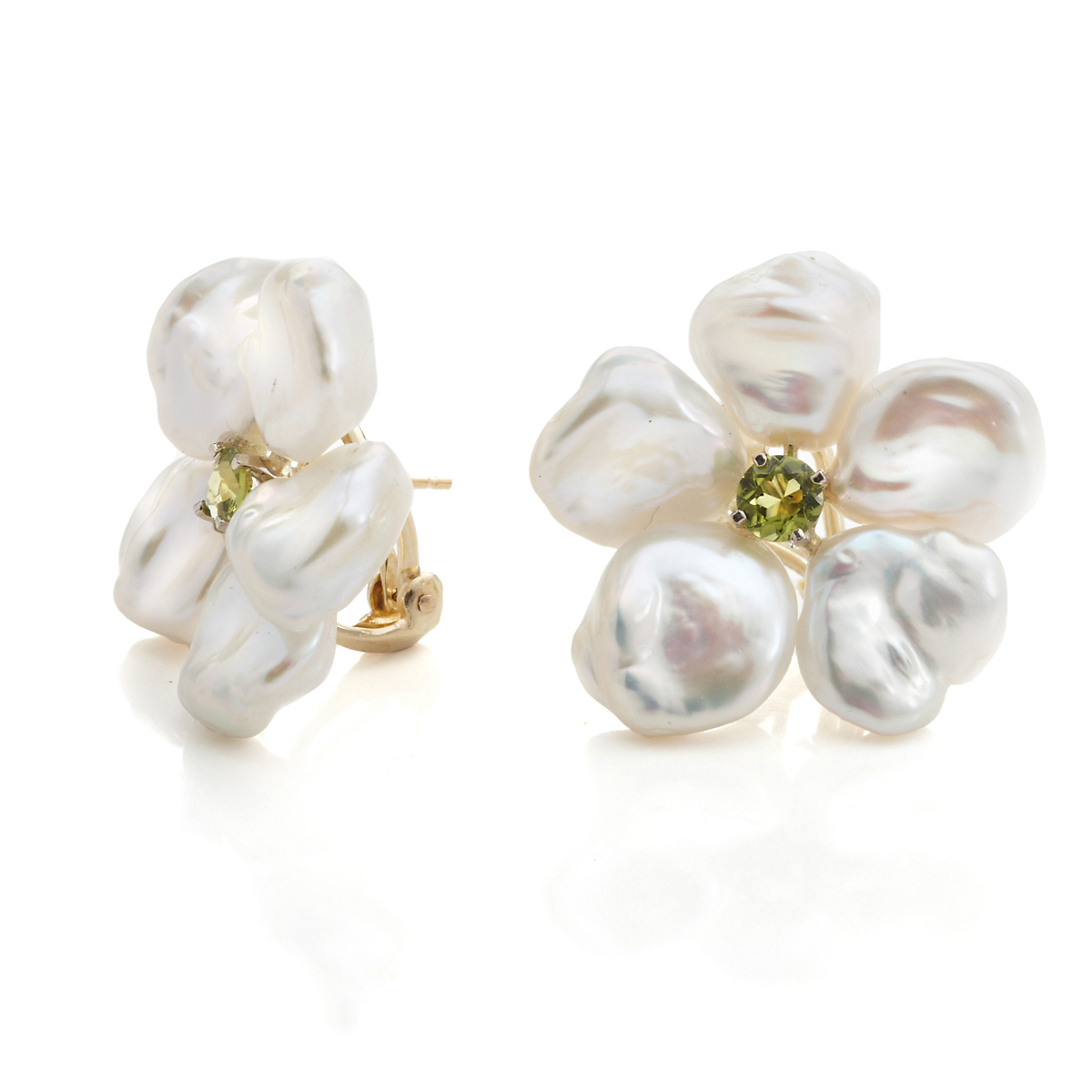 Russell Trusso Petal Pearl & Peridot Flower Earrings