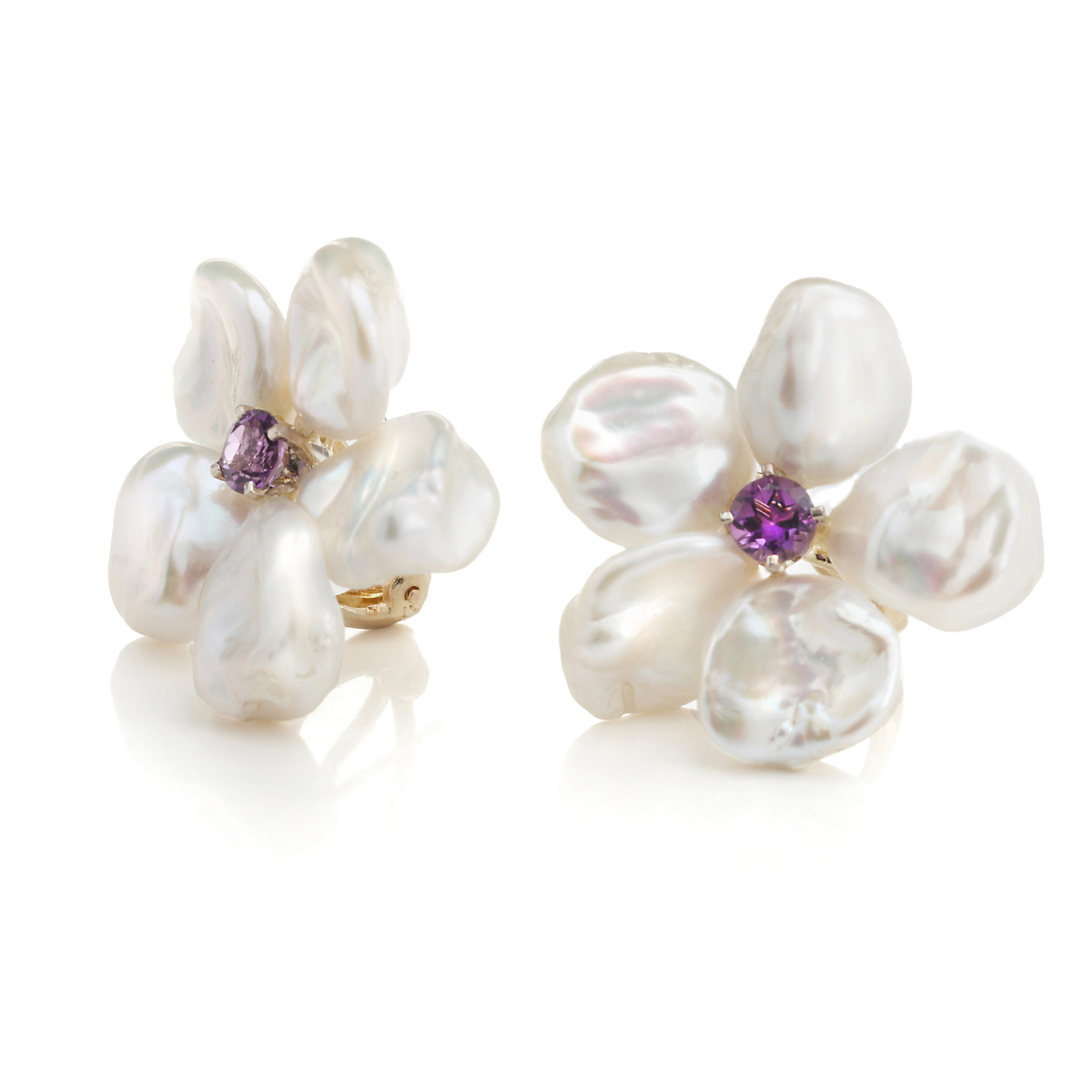 Russell Trusso Pearl & Amethyst Flower Earrings