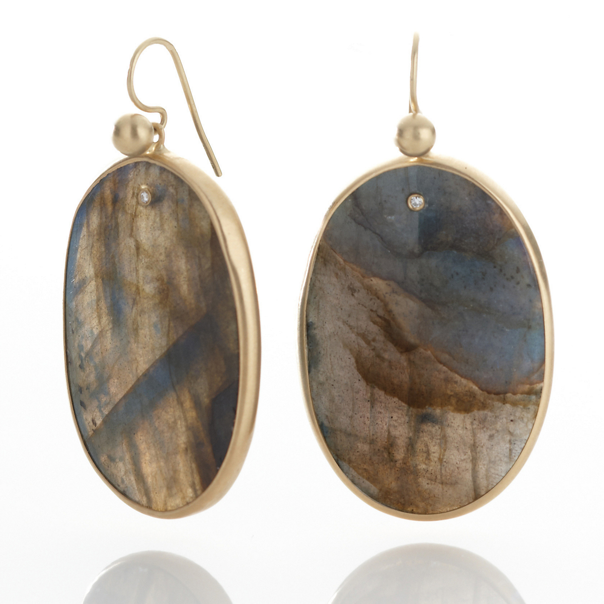Kothari Labradorite Egg with Diamond Earrings