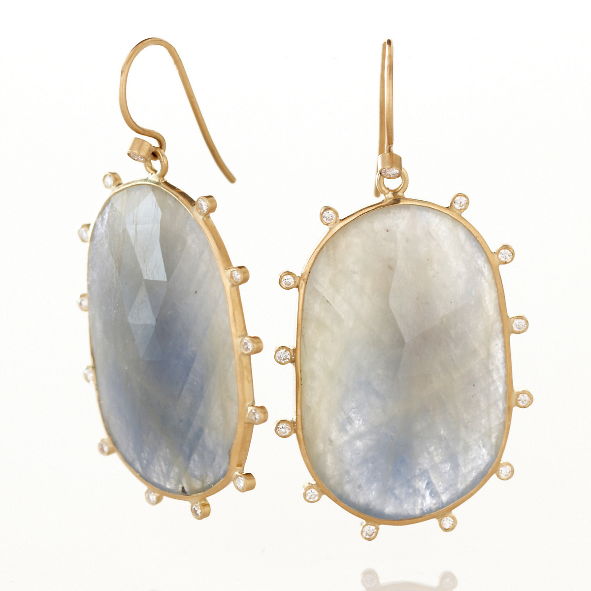 Kothari Blue Gray Sapphire with Diamonds Earrings