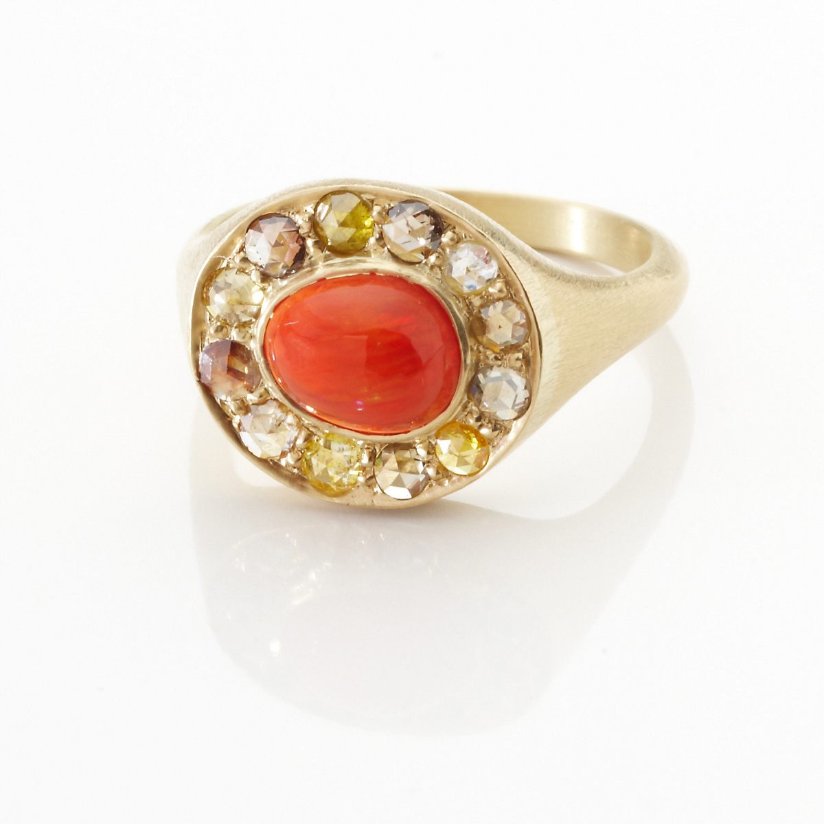Kothari Fire Opal & Diamond Ring