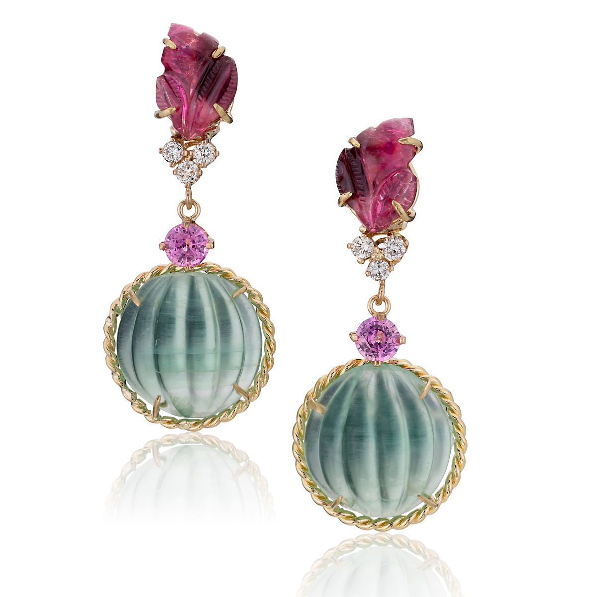 Russell Trusso Tourmaline Leaf & Melon Drop Earrings