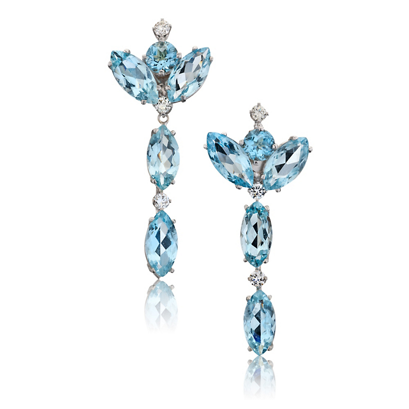 Russell Trusso Marquise Aquamarine Drop Earrings