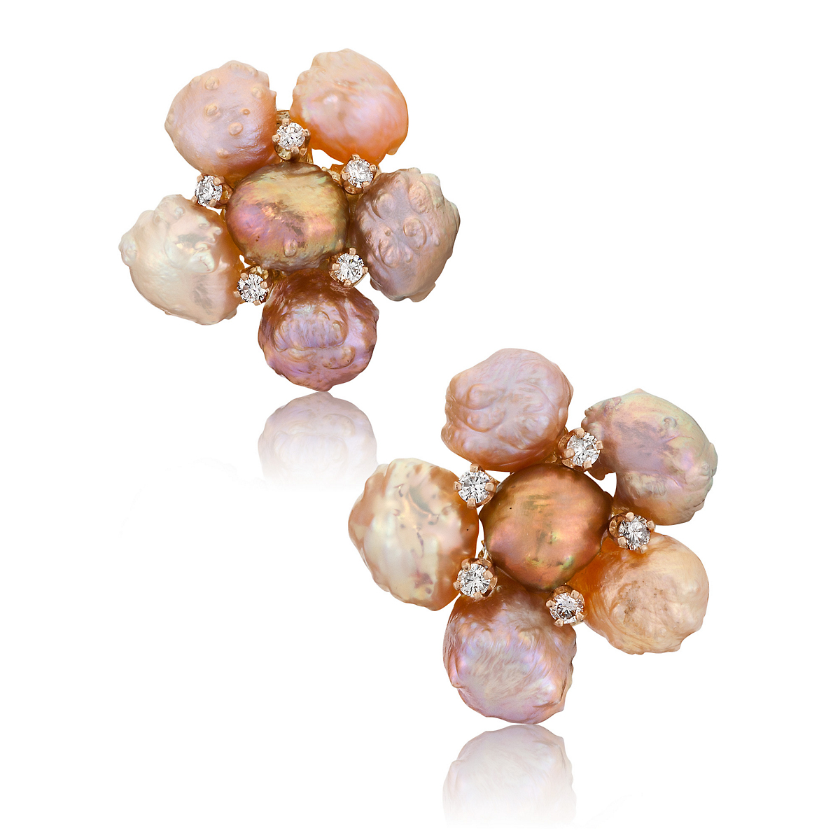 Russell Trusso Rosebud Pearl Cluster Earrings