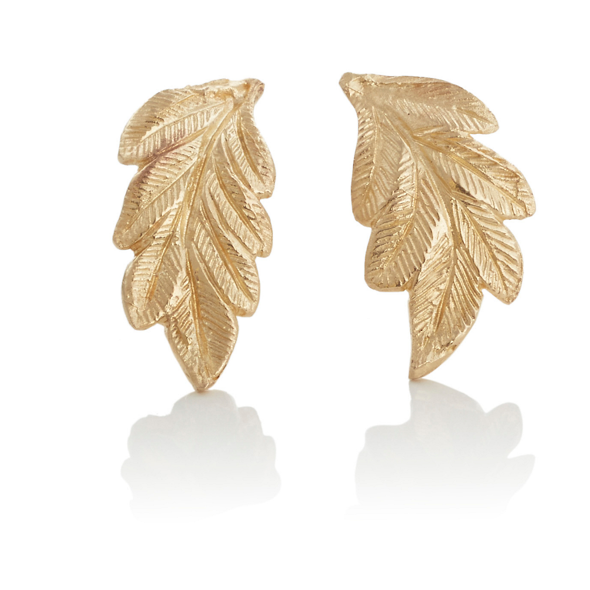 Ashley Morgan Hand-Engraved Gold Leaf Earrings