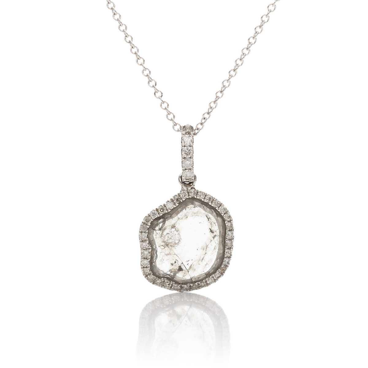 Ashley Morgan White Gold & Diamond Slice Pendant