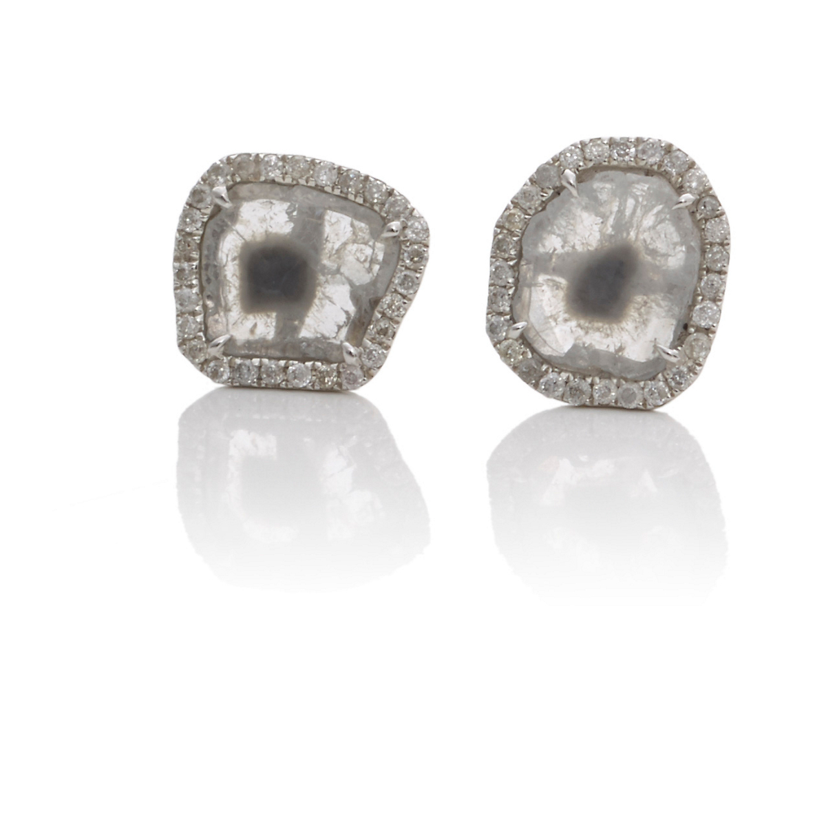 Ashley Morgan White Gold & Diamond Slice Earring