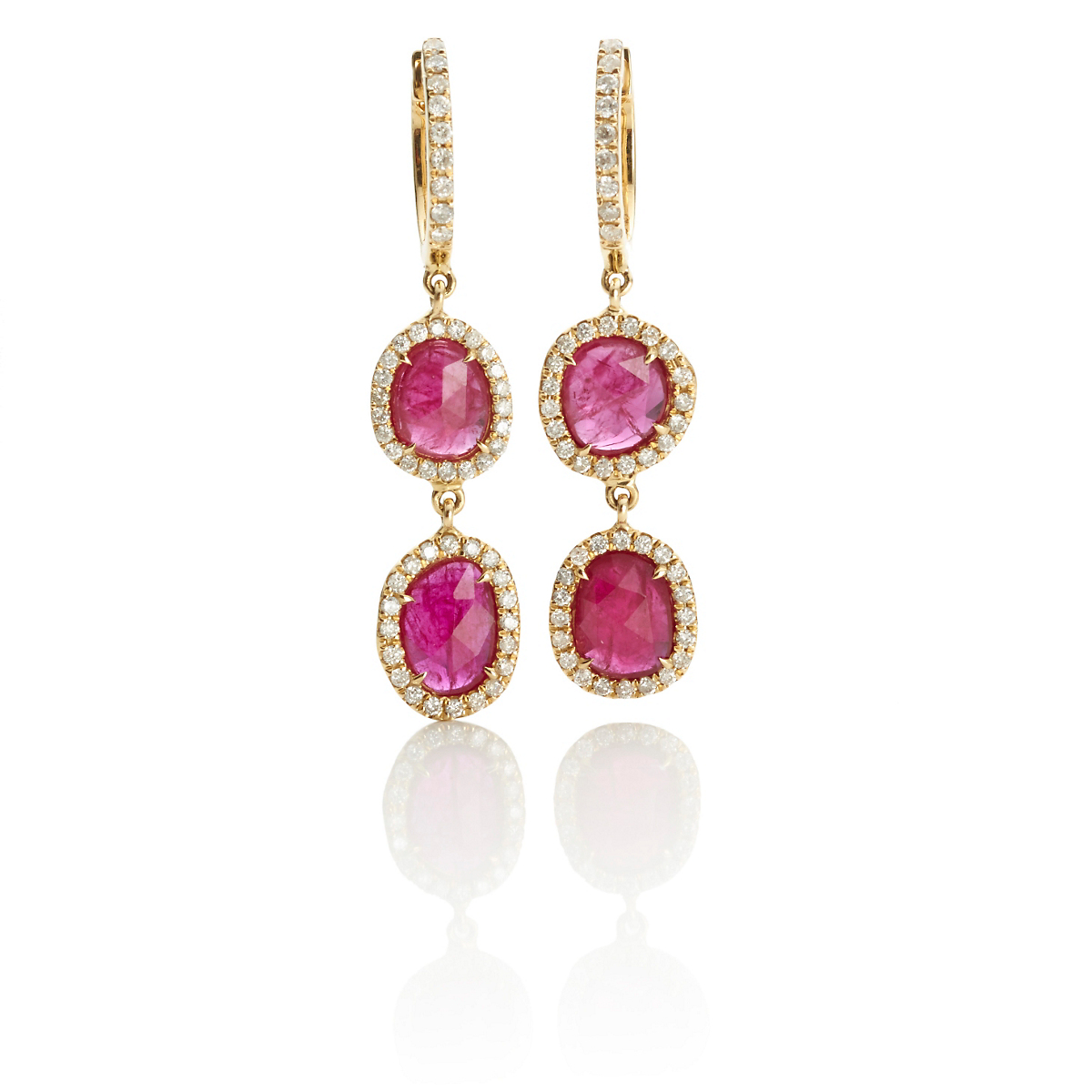Ashley Morgan Gold & Double Rubellite Slice Earring