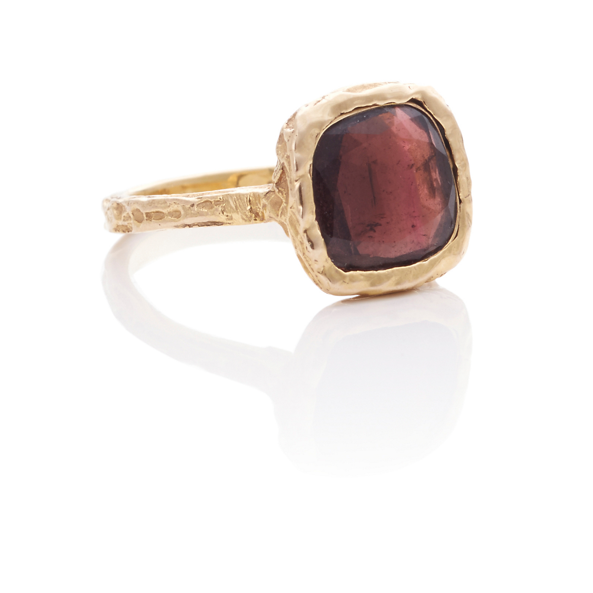 Ashley Morgan Dark Red Tourmaline & Gold Ring