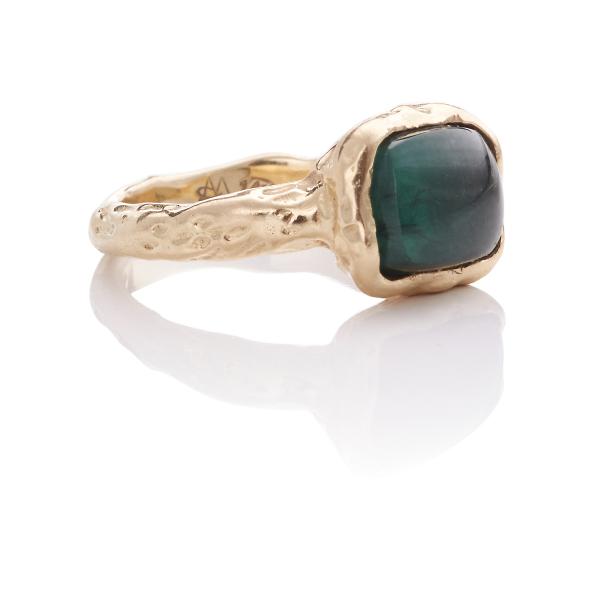 Ashley Morgan Cushion Cabochon Tourmaline & Gold Ring