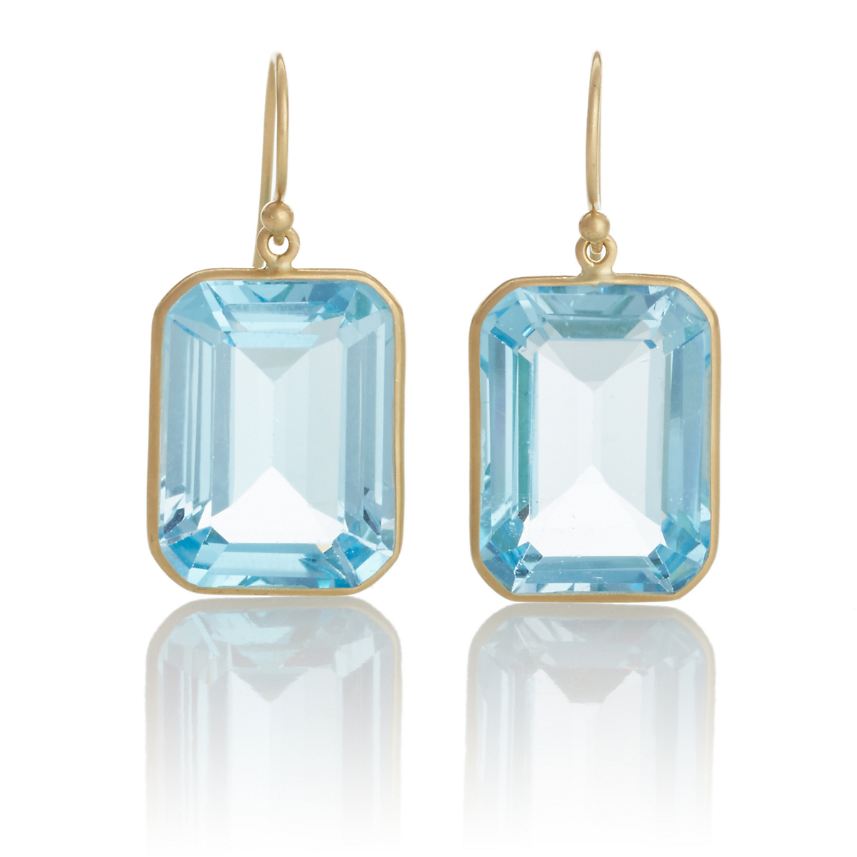 Kothari Emerald Cut Blue Topaz Gold Earrings
