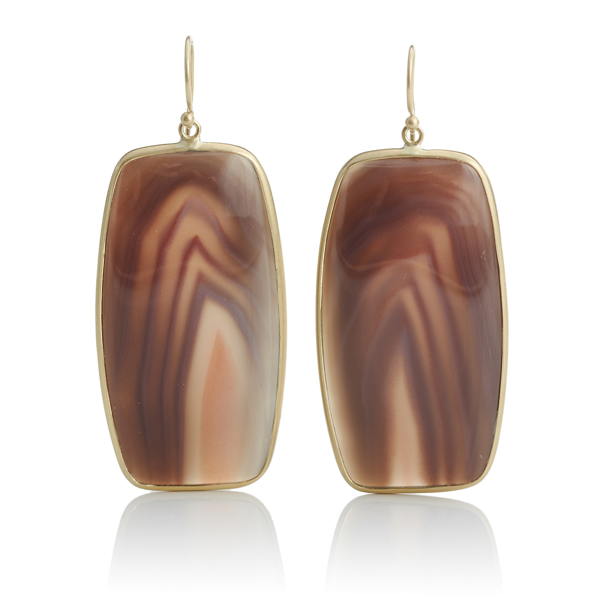 Kothari Rosy Purple Gray Agate Gold Earrings