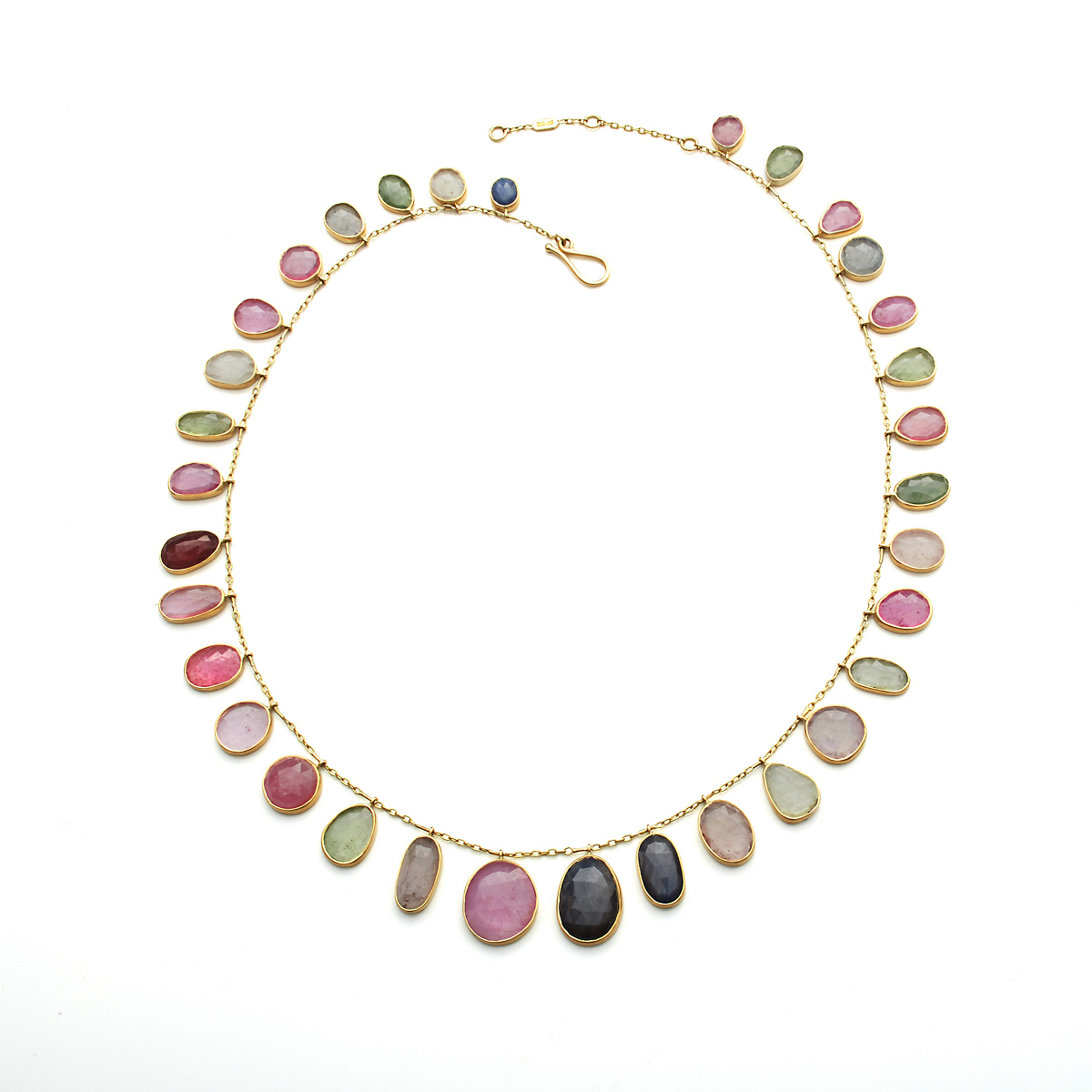 Kothari Multicolor Rose Cut Sapphire & Gold Fringe Necklace