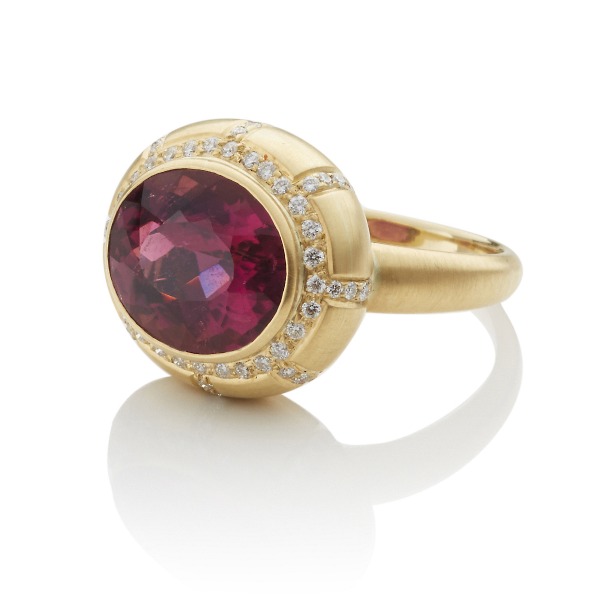 Kothari Rubellite, Diamond & Gold Bombe Ring