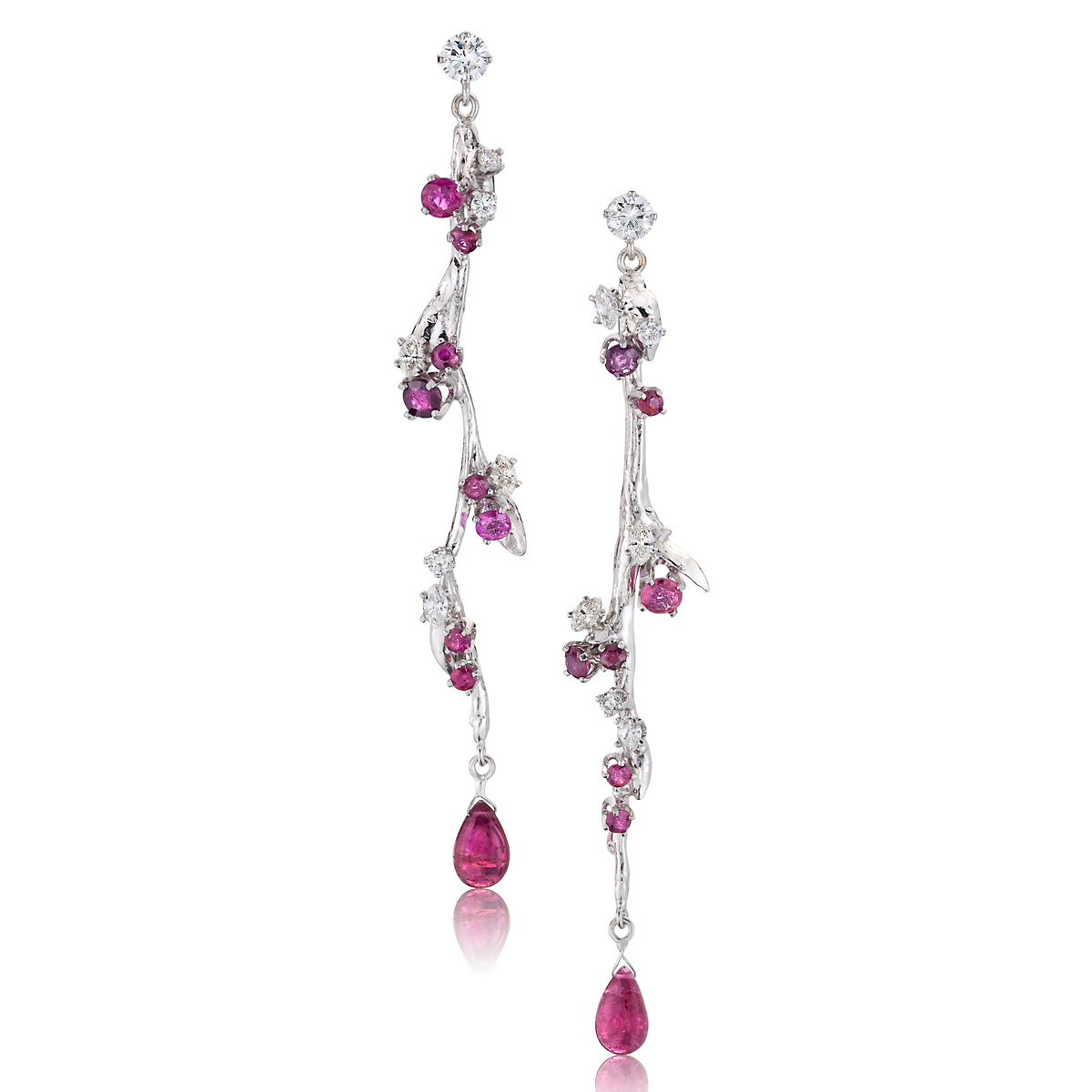 Russell Trusso Ruby, Rubellite & Diamond Willow Earrings