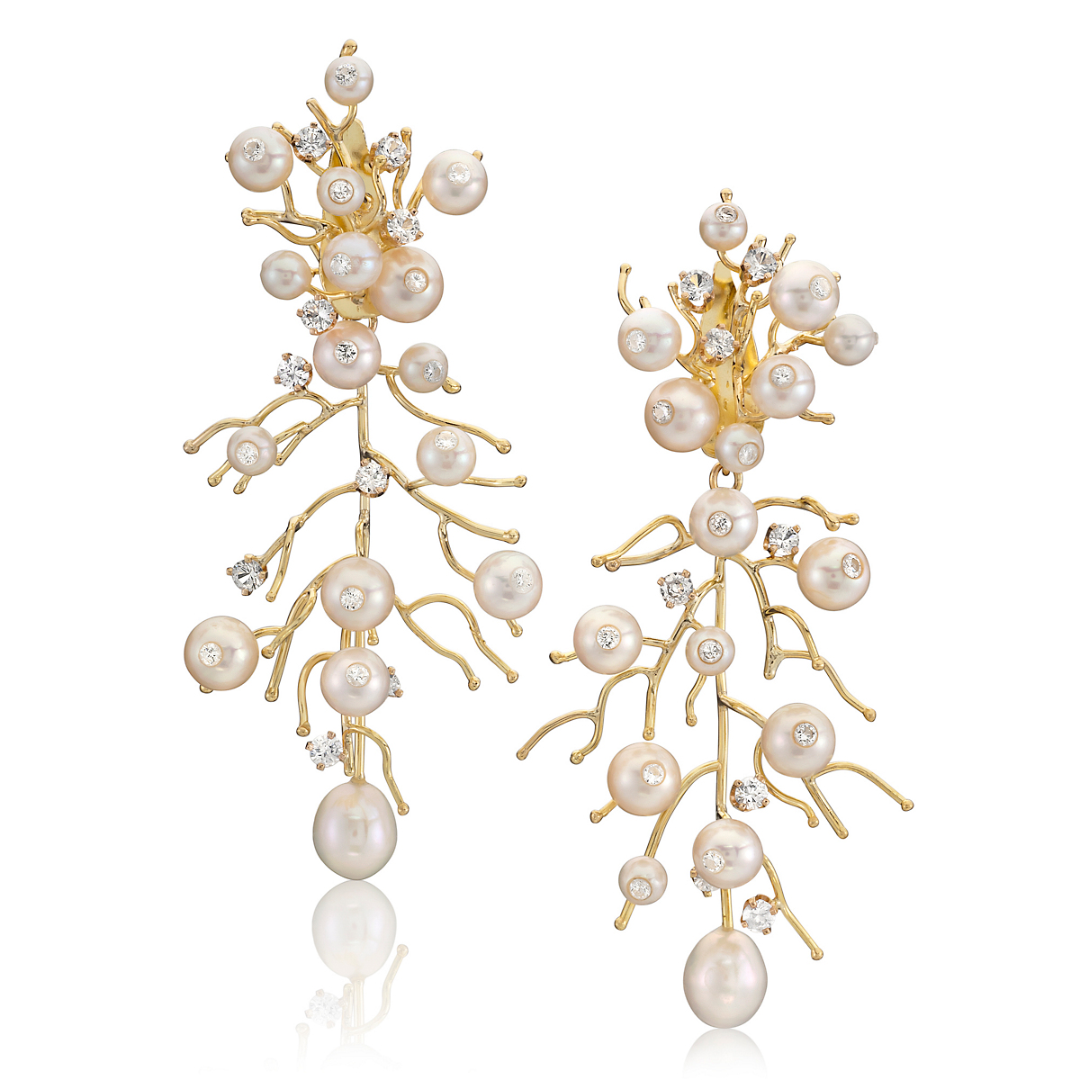 Russell Trusso Pearl, Diamond & White Sapphire La Mer Earrings