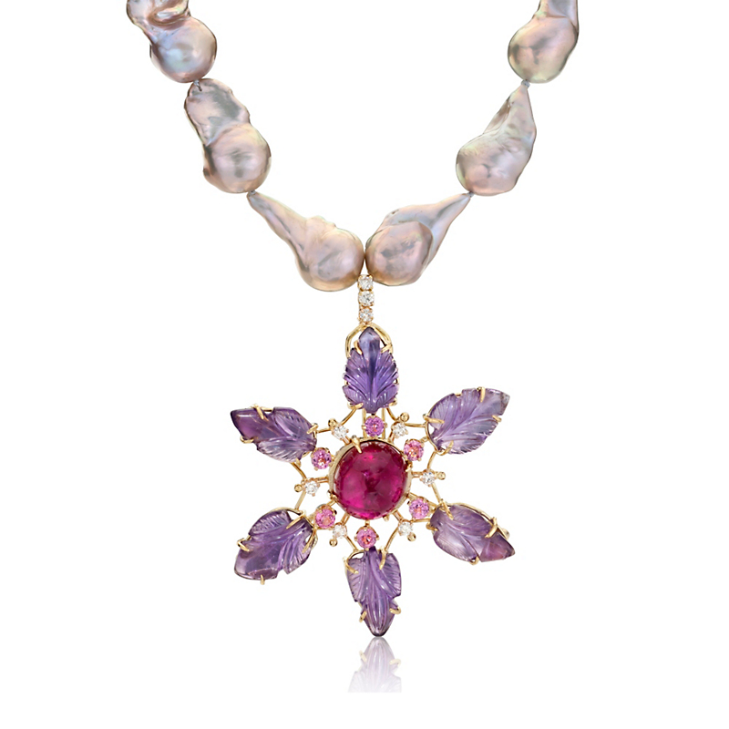 Russell Trusso Carved Amethyst, Pink Tourmaline & Pearl Necklace