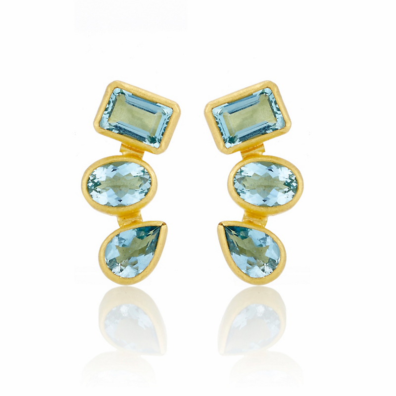 Petra Class Aquamarine Stacked Multi-Stone Earrings