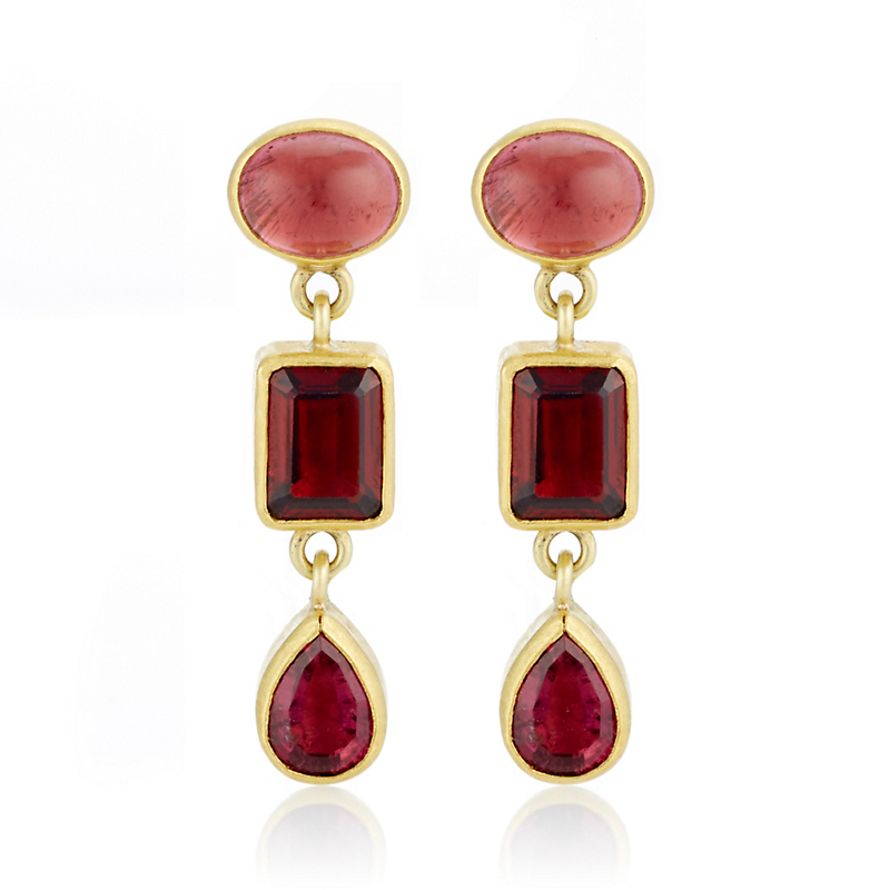 Petra Class Red Tourmaline Multi-Stone Drop Earrings