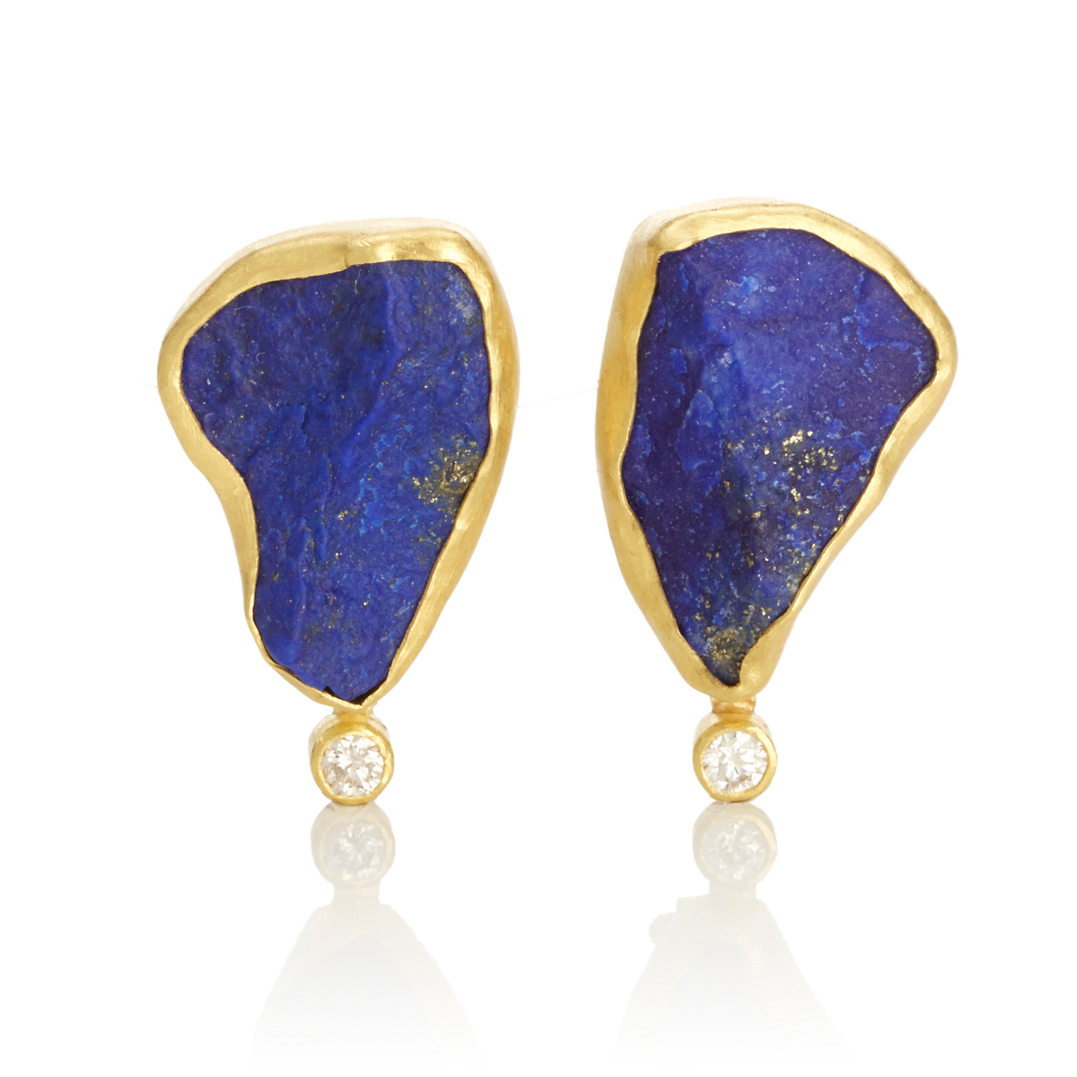 Petra Class Rough Lapis & Diamond Earrings