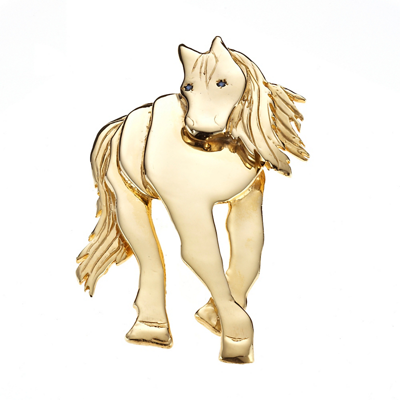 Mia Fonssagrives-Solow Large Gold Walking Horse With Sapphire Brooch
