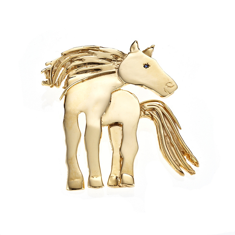 Mia Fonssagrives-Solow Gold Standing Horse With Sapphire Brooch
