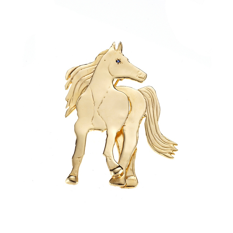 Mia Fonssagrives-Solow Gold Race Horse With Sapphire Brooch