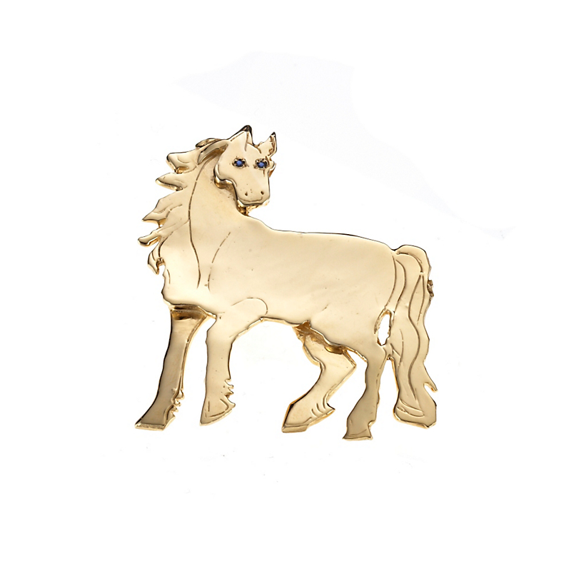 Mia Fonssagrives-Solow Gold De Chico Horse With Sapphire Brooch